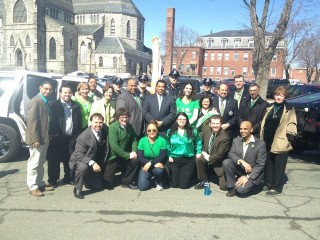 With leaders at the Lawrence St. Patrick's Day parade 2015