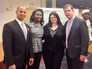 Jessica with John Barros, with Mayor Marty Walsh
