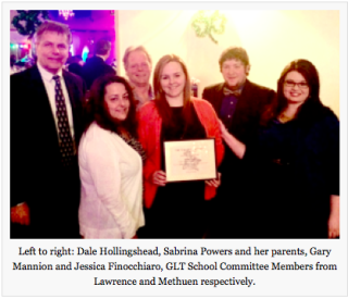 Presenting an award to an outstanding GLTS student from Methuen